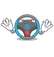 tongue out miniature steering wheel in cartoon vector image vector image