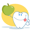 Tooth Character Holding Up A Green Apple vector image vector image