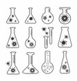 virus vaccine research flask icons set vector image vector image