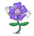 waving periwinkle flower character cartoon vector image