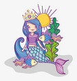 woman mermaid wearing crown and fishes vector image vector image