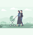 young family with baby walking in park outdoor vector image vector image