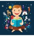 Cartoon kid reading fairy tale book vector image