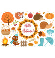 hello autumn icons set flat or cartoon style vector image