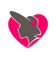 beauty salon emblem with woman in hat inside heart vector image