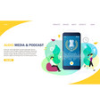 audio media and podcast landing page website vector image vector image