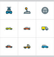automobile icons colored line set with steering vector image vector image