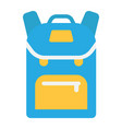 backpack flat icon education and school vector image