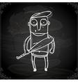 Baseball Player Drawing on Chalk Board vector image vector image