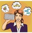 Beautiful woman with smart phone comic pop art vector image