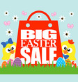 big easter sale card funny chickens vector image