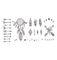 boho style collection for tattoo icon vector image vector image
