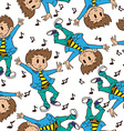 boy dancing pattern vector image