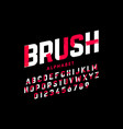 brush stroke font alphabet letters and numbers vector image