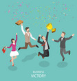 business victory flat isometric concept vector image vector image
