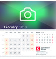calendar for february 2018 week starts on sunday vector image vector image