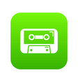cassete tape icon green vector image vector image