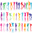 children silhouettes playing vector image vector image