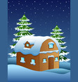 christmas night with a fir tree and snowy houses vector image vector image