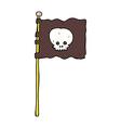 comic cartoon waving pirate flag vector image