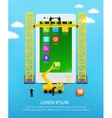 Construction mobile phone smartphone user vector image vector image