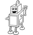 cubical robot character coloring book vector image vector image