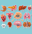 cute organs happy human set of smiling vector image