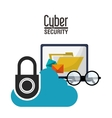 Cyber security and laptop design vector image vector image