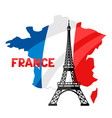 eiffel tower on map of france vector image vector image