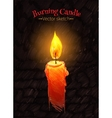 Felt pen drawing of burning candle vector image vector image