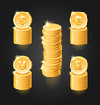 gold coin stack vector image vector image