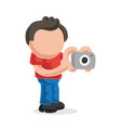 hand-drawn cartoon of photographer man standing vector image