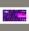 horizontal gift voucher violet lines on black vector image vector image