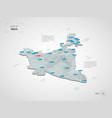 isometric india map with city names and vector image