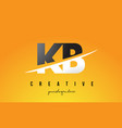 kb k b letter modern logo design with yellow vector image vector image