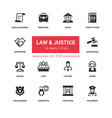 law and justice - line design silhouette icons set vector image