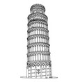 leaning tower pisa in italy vector image vector image
