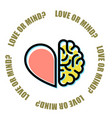 love or mind - half of heart and brain vector image vector image