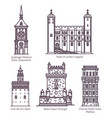 medieval towers in thin line europe building vector image vector image