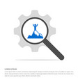 mountain hiking icon search glass with gear vector image