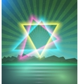 Neon Triangle Disco Poster Template 80s Background vector image vector image