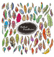 Ornate Set of Stylized and Abstract Feathers vector image vector image