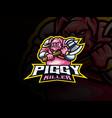 pig warrior mascot sport logo design vector image vector image