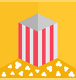 popcorn on the floor red yellow strip square vector image vector image