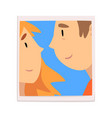 portrait happy couple in love photo man and vector image vector image