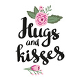 Poster template - Hugs and kisses Wedding marriage vector image vector image
