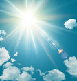 Realistic shining sun with lens flare vector image vector image