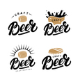 set beer hand written lettering logos labels vector image