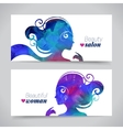 Set of banners with acrylic beautiful girl vector image vector image