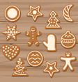 set of christmas cookies on wooden background vector image
